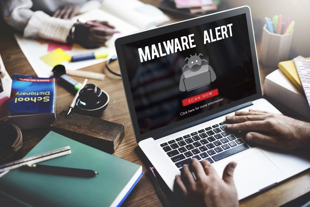 Laptop under malware attack