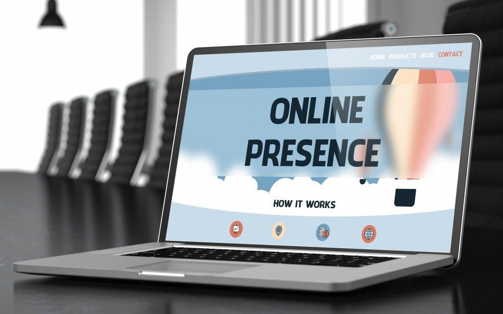 online presence on laptop screen