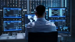 Man working for cyber security