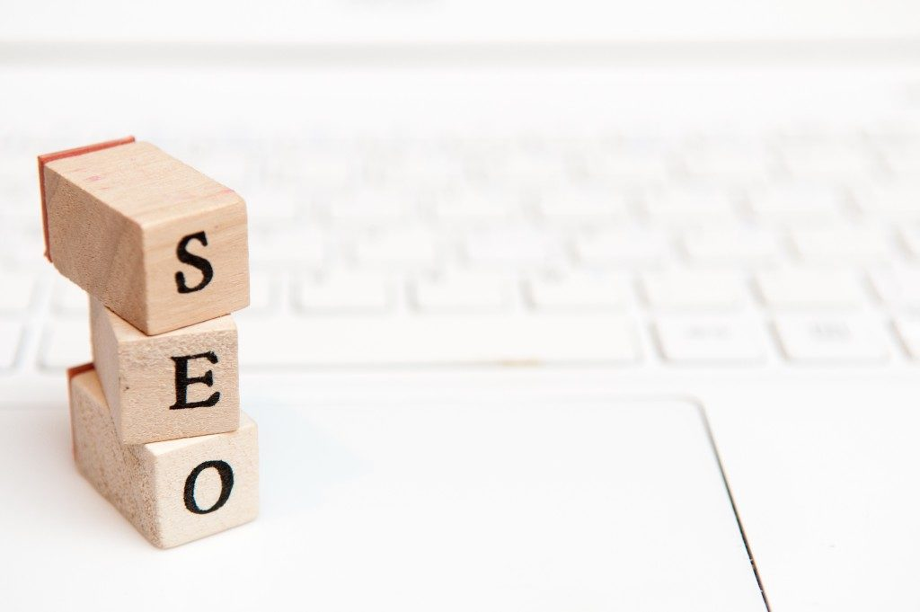SEO Building blocks on top of an open laptop
