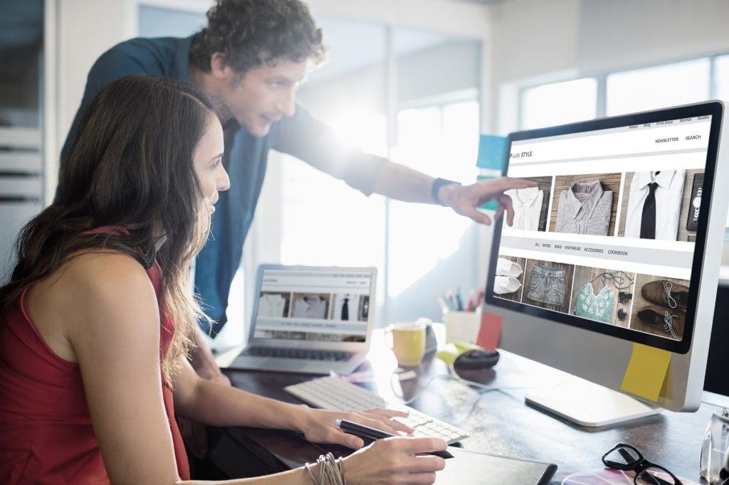 Team working on website design